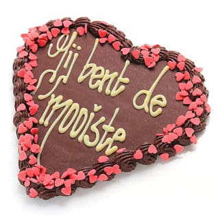 Chocolade hart in puur met tekst