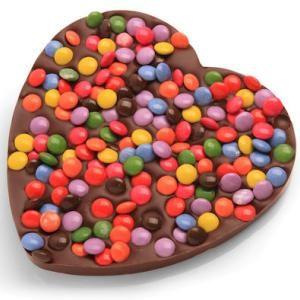 Chocolade hart met smarties, dat is puur genieten.